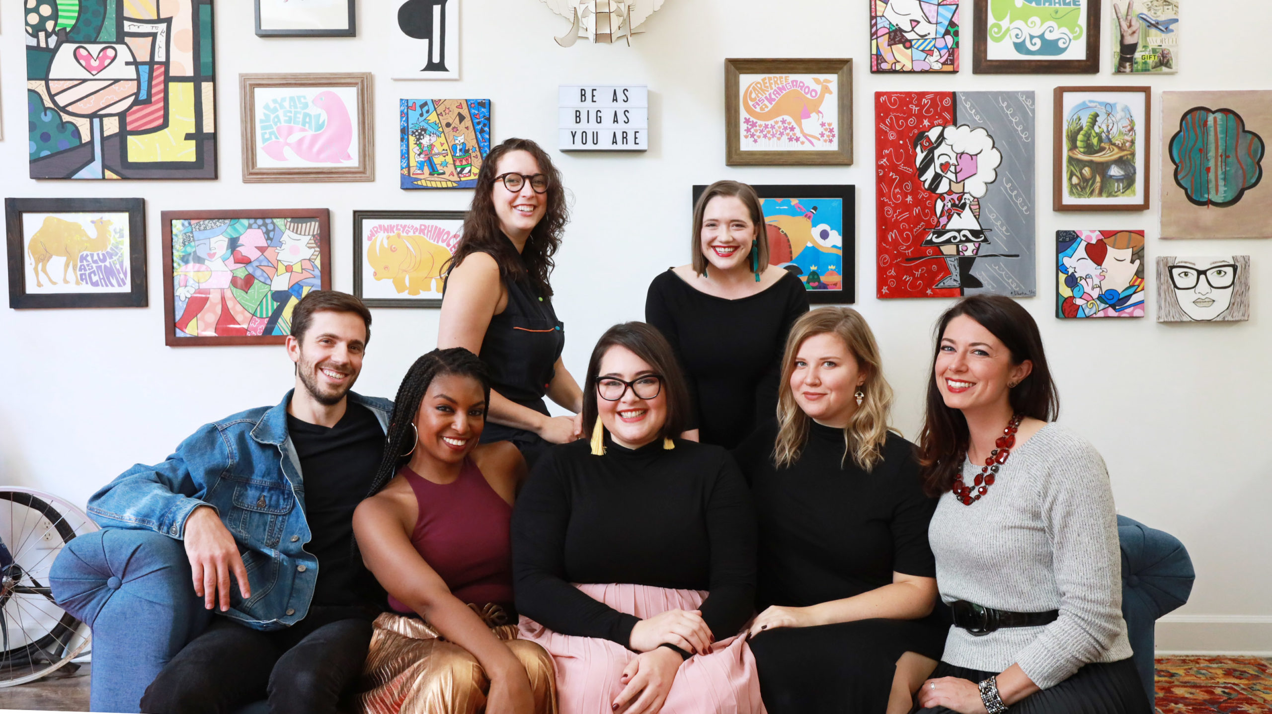 The FRQNCY Media team (L to R: Associate Producer Peter LoPinto; Communications Director Sigele Winbush; Executive & Content Support Becca Godwin; Founder & CEO Michelle Khouri; Content Strategist Jessica Olivier; Producer Enna Garkusha; Culture Consultant Theresa M. Ward)